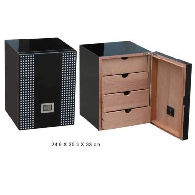 Humidor black , 4 drawers, digital hygrometer