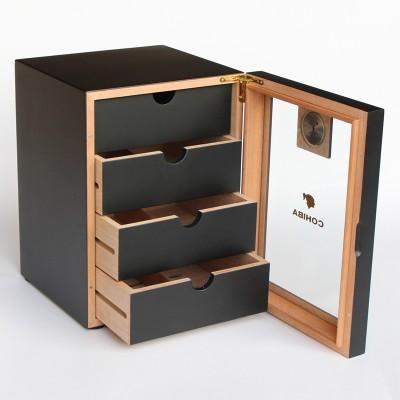 0575-B-COH Matt finish small wooden cabinet, black
