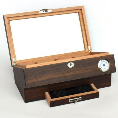 1128-W Brown Matt finish wooden humidor with glass top