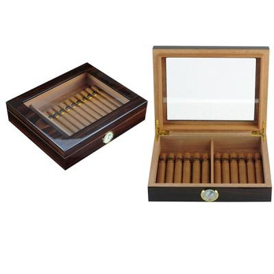 1435-W Small cigar humidor-glass on top Walnut