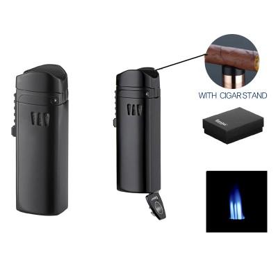 221008 Eurojet Lighter 3xJet black with cigar punch, cigar rack