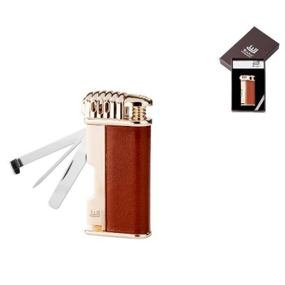222050 Lighter Davos Pipe Piezo, Brown-Leather with gold , Tool