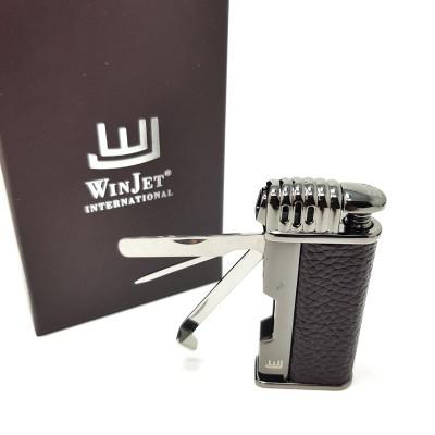 222060 Lighter Davos Pipe Piezo, Brown/Leather, Tool