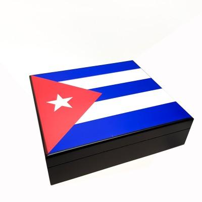 1003-C CIGAR HUMIDOR WITH THE CUBAN FLAG