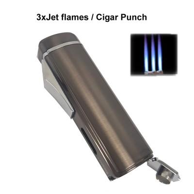 256013 Eurojet Lighter 3xJet/Cigar Punch gun polished