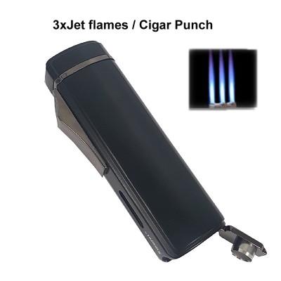 256014 Eurojet Lighter 3xJet/Cigar Punch Black
