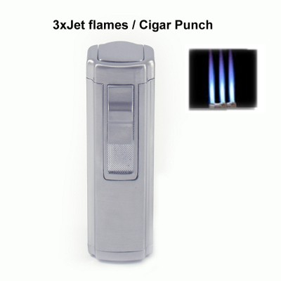 256130 Eurojet Lighter 3xJet/Cigar Punch/Chrome