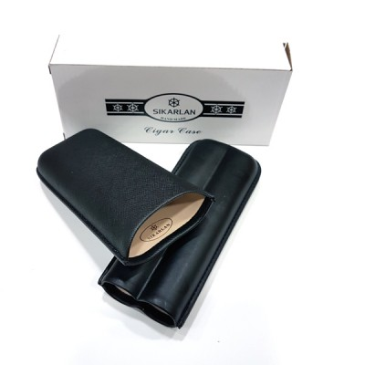 4002 Cigar Case for 2 cigars black 64ring