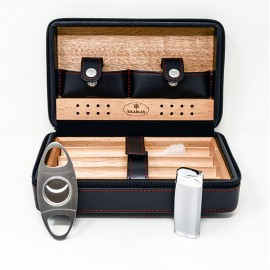 4045 Leather Travel Humidor SET , lighter + cutter