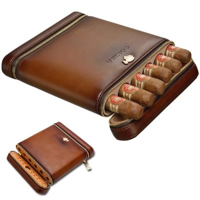 6 cigar cedar+ leather case Coh
