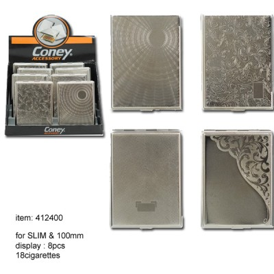 Metal Cigarette Case SLIM & 100mm, 8pcs/dis