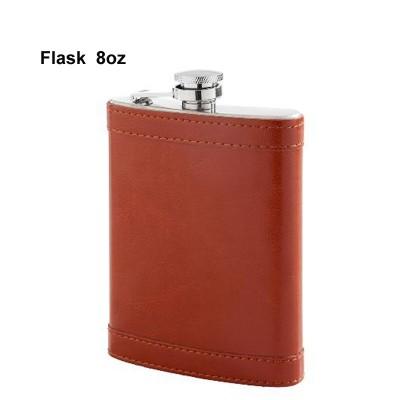490140 Hip Flask PU Brown 8oz