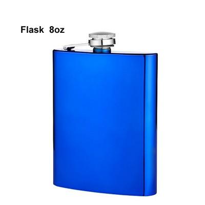 490600 Angelo flask, 8 oz metallic blue