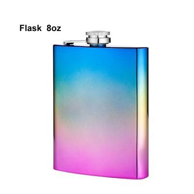 490610 Angelo flask, 8 oz rainbow metallic