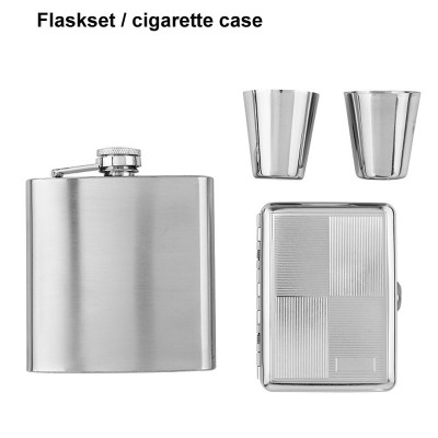 491180 Angelo Flaskset with cigarette case, chrome