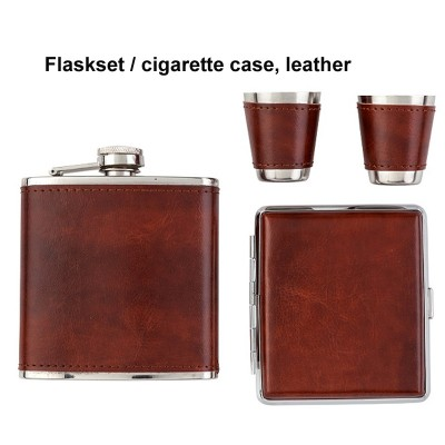 491200 Angelo Flaskset with cigarette case, Brown leather