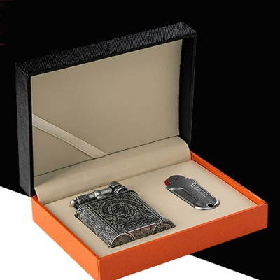 JF-086S JIFENG lighter 2 flame vintange SILVER+flint case