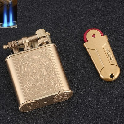 JF-086G JIFENG lighter 2 flame vintange GOLD+flint case