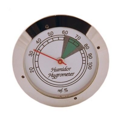 Silver analog hygrometer with glass face