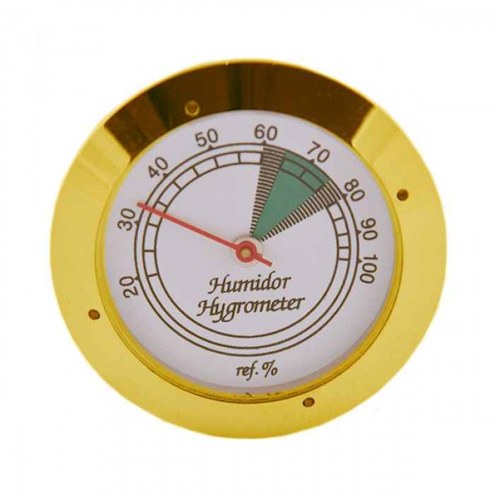 Gold analog hygrometer with glass face