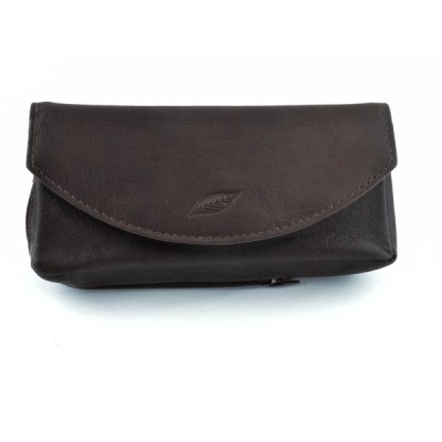 Pipe case 100% leather dark brown