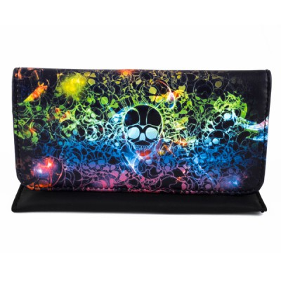 Artificial leather tobacco pouch with magnet (Skulls)