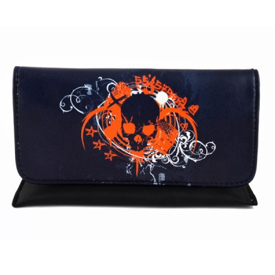 Artificial leather tobacco pouch with magnet (Skull)